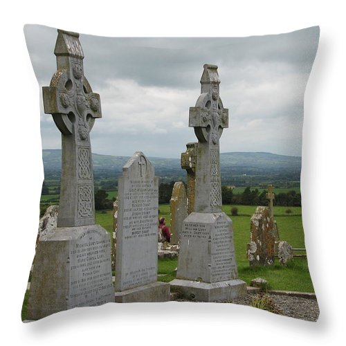 Celtic Cross Throw Pillow featuring the photograph Storms Comming by Kelly Mezzapelle