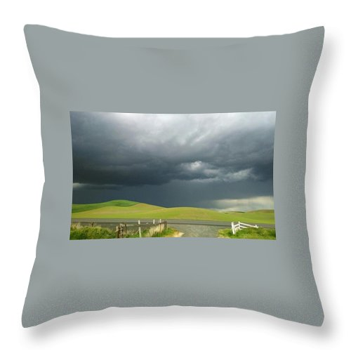 Landscape. Rainy Day. Throw Pillow featuring the digital art Storms Rolling In by Drew Filan
