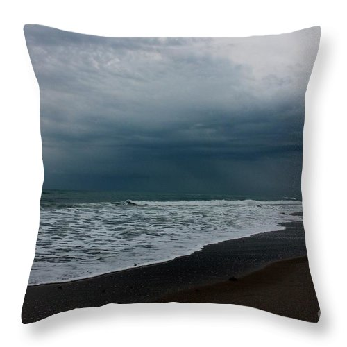 Ocean Throw Pillow featuring the photograph Storms Rolling In by Mesa Teresita