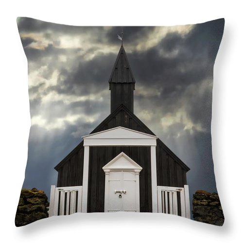 Architecture Throw Pillow featuring the photograph Stormy Day At The Black Church by Jerry Fornarotto