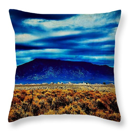 Stormy Throw Pillow featuring the photograph Stormy Day In Taos by Charles Muhle