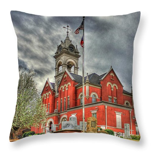 Reid Callaway Stormy Day Throw Pillow featuring the photograph Stormy Day Jones County Georgia Court House Art by Reid Callaway