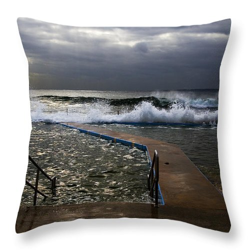 Storm Clouds Collaroy Beach Australia Throw Pillow featuring the photograph Stormy Morning At Collaroy by Sheila Smart Fine Art Photography