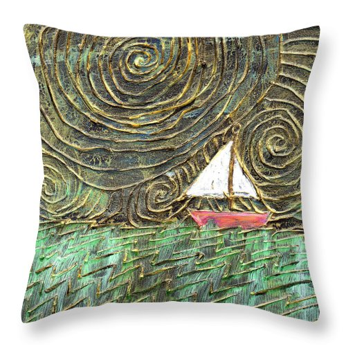 Storm Throw Pillow featuring the painting Stormy Night by Wayne Potrafka