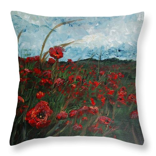 Poppies Throw Pillow featuring the painting Stormy Poppies by Nadine Rippelmeyer