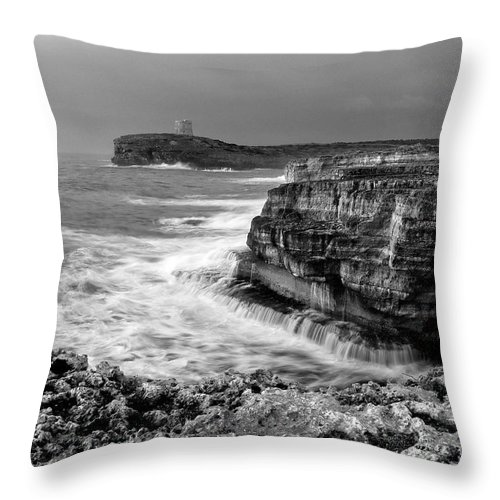 Storm Throw Pillow featuring the photograph stormy sea - Slow waves in a rocky coast black and white photo by pedro cardona by Pedro Cardona Llambias