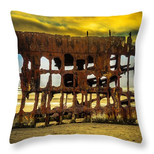 Rusty Throw Pillow featuring the photograph Stormy Shipwreck by Garry Gay