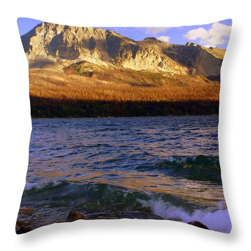 Glacier National Park Throw Pillow featuring the photograph Stormy St Marys by Marty Koch