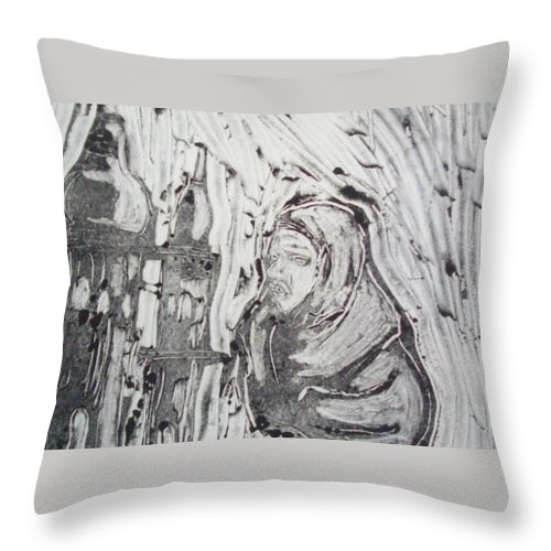 Ink Throw Pillow featuring the drawing Story Of Two Sisters by Crystal Webb