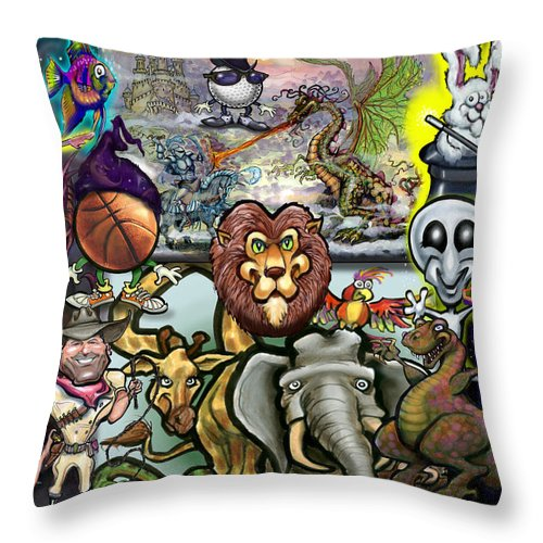 Story Throw Pillow featuring the painting Storytime by Kevin Middleton