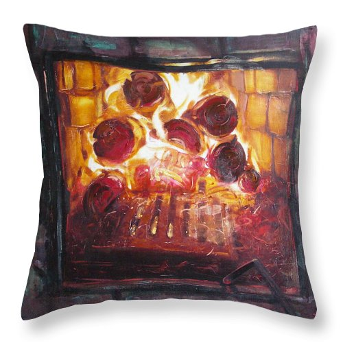 Oil Throw Pillow featuring the painting Stove by Sergey Ignatenko