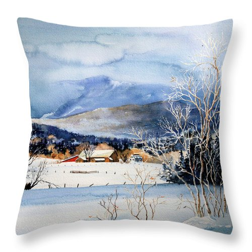 Stowe Valley Farm Painting Throw Pillow featuring the painting Stowe Valley Farm by Hanne Lore Koehler