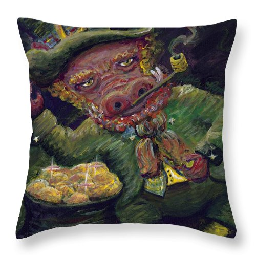 Hog Throw Pillow featuring the painting St.patricks Day Pig by Nadine Rippelmeyer