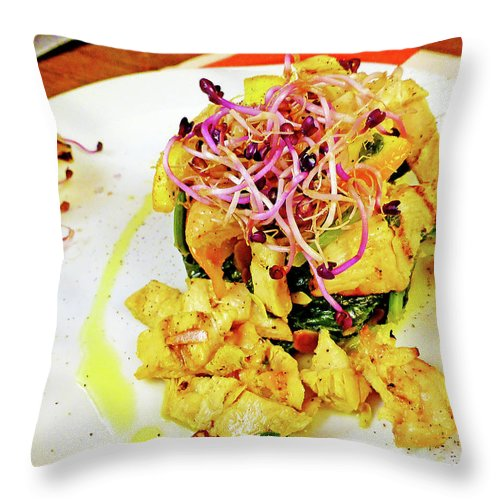 Seafood Throw Pillow featuring the photograph Straccetti Di Pollo by Evan Peller