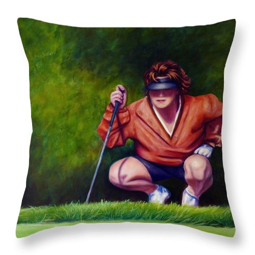 Golfer Throw Pillow featuring the painting Straightshot by Shannon Grissom