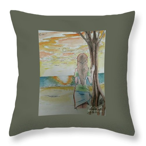 Island Throw Pillow featuring the painting Stranded by Lauren Champion