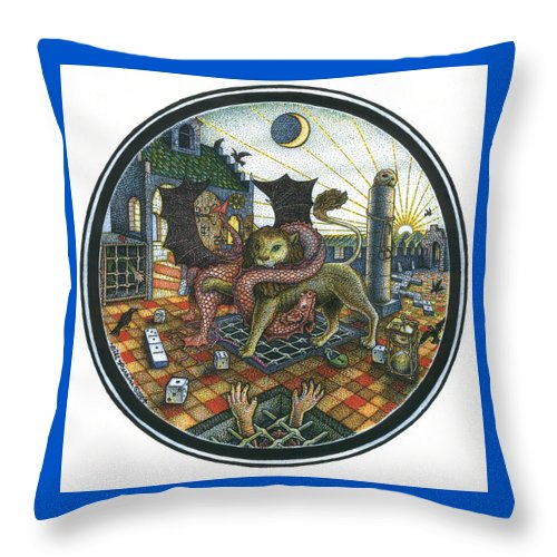 Dragon Throw Pillow featuring the drawing Strange Reverie by Bill Perkins