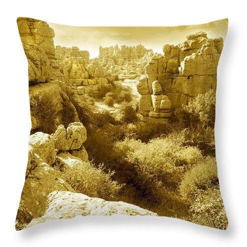 Rock Throw Pillow featuring the photograph Strange Rock Formations At El Torcal Near Antequera Spain by Mal Bray