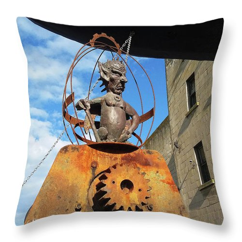 Demonic Throw Pillow featuring the photograph Strange Steam Punk Demonic Figure by Nareeta Martin