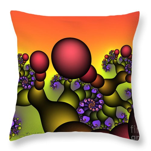 Fractal Throw Pillow featuring the digital art Strange World by Jutta Maria Pusl