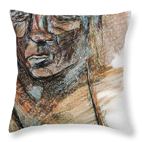 Drawing Throw Pillow featuring the drawing Stranger by Crystal Webb