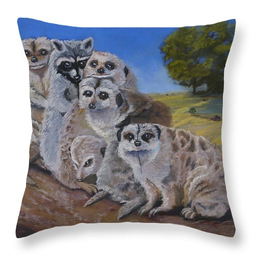 Meer Cat Throw Pillow featuring the painting Stranger In A Strange Land by Heather Coen