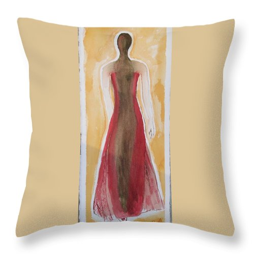 Dress Lady Red Yellow Fashion Throw Pillow featuring the painting Stranger by Patricia Caldwell