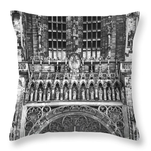 Alsace Throw Pillow featuring the photograph Strasbourg Cathedral 01 B W by Teresa Mucha