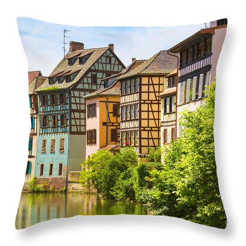 Alsace Throw Pillow featuring the photograph Strasbourg, Half-tmbered Houses, Petite France, Alsace, France by Marco Arduino