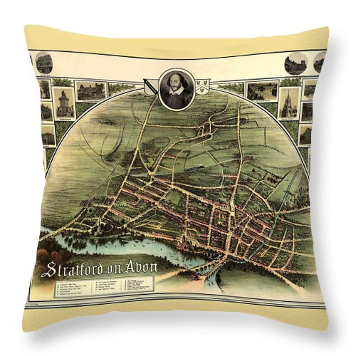 Stratford On Avon Throw Pillow featuring the photograph Stratford On Avon 1908 by Andrew Fare