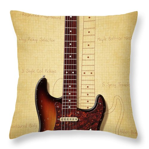 Stratocaster Throw Pillow featuring the digital art Stratocaster Illustration by WB Johnston