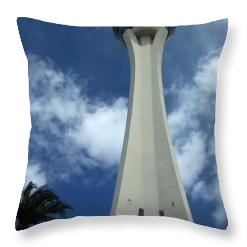 Stratosphere Tower Throw Pillow featuring the photograph Stratosphere Tower by Anita Burgermeister