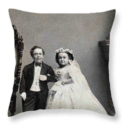 1863 Throw Pillow featuring the photograph Stratton: Gen. Tom Thumb by Granger