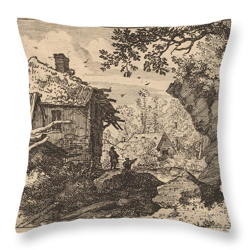 Throw Pillow featuring the drawing Straw Hut Seen From Behind by Allart Van Everdingen