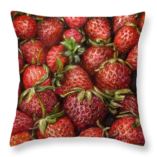 Strawberries Throw Pillow featuring the painting Strawberries -2 Contemporary Oil Painting by Natalja Picugina