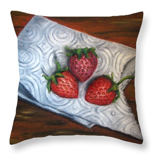 Strawberries Throw Pillow featuring the painting Strawberries-3 contemporary oil painting by Natalja Picugina