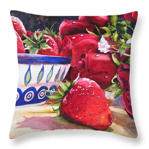 Strawberries Throw Pillow featuring the painting Strawberries and Roses by Karen Stark