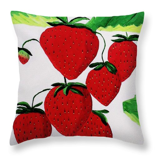 Strawberries Throw Pillow featuring the painting Strawberries by Rodney Campbell