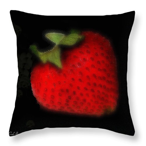Still Life Throw Pillow featuring the photograph Strawberry by Linda Sannuti