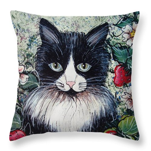 Cat Throw Pillow featuring the painting Strawberry Lover Cat by Natalie Holland