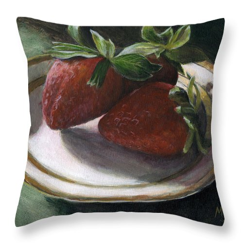 Strawberries Throw Pillow featuring the painting Strawberry Still Life by Michael Beckett