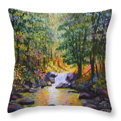 Landscape Throw Pillow featuring the painting Stream Light by Paul Walsh