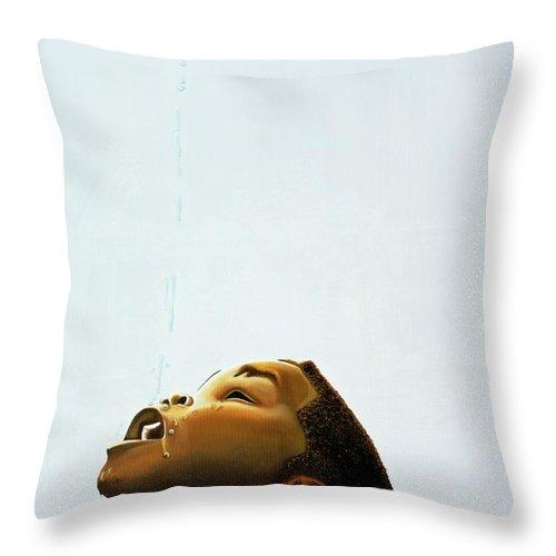 Kaaria Throw Pillow featuring the painting Streams In The Desert by Kaaria Mucherera