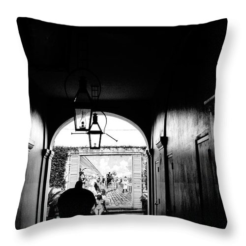 Street Photography Throw Pillow featuring the photograph Street Ally New Orleans Black by Chuck Kuhn