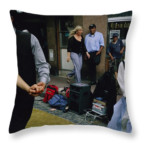South America Throw Pillow featuring the photograph Street Dancers Perform Theatrics by Pablo Corral Vega