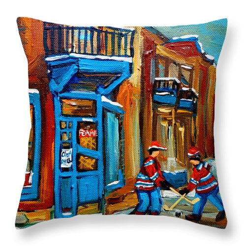 Wilenskys Throw Pillow featuring the painting Street Hockey At Wilensky's Montreal by Carole Spandau
