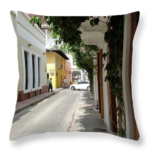 Street Throw Pillow featuring the photograph Street In Colombia by Brett Winn