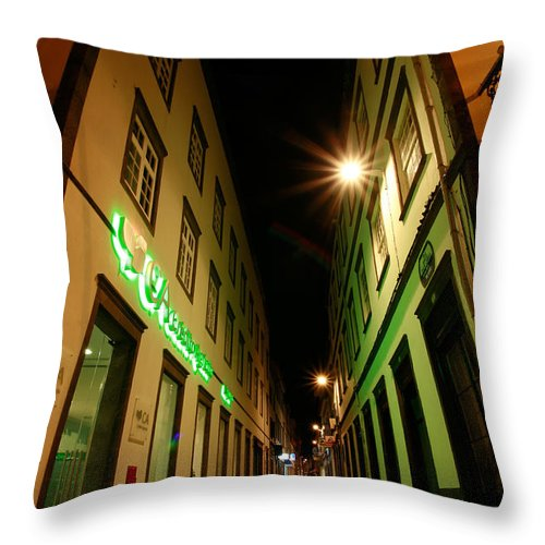 Portugal Throw Pillow featuring the photograph Street In Ponta Delgada by Gaspar Avila