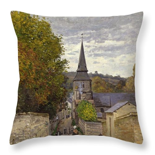 Street In Sainte-adresse Throw Pillow featuring the painting Street In Sainte Adresse by Claude Monet
