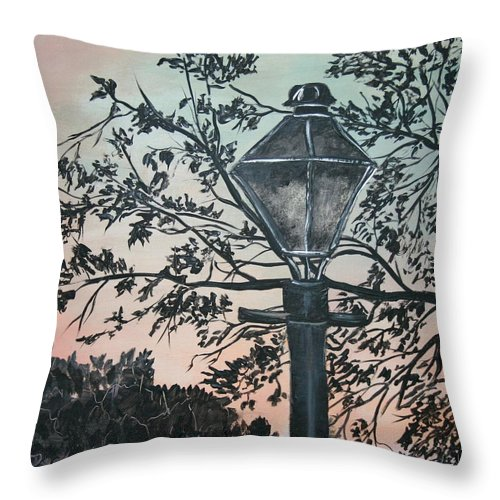 Painting On Wood Throw Pillow featuring the painting Street Lamp Historic Vintage Art Print by Derek Mccrea
